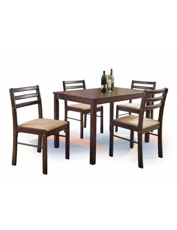 Set dining NEW STARTER EXPRESSO, culoarea cafelei, Masa cu 4 scaune, stil  Clasic, HALMAR