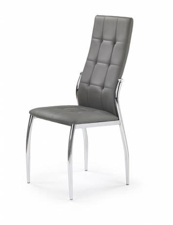 Scaun dining K209 Gri/Crom, cu tapiterie din piele ecologica, si Metal, stil Modern, Halmar