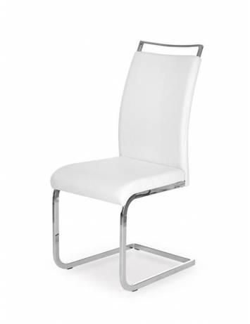 Scaun dining K250, alb/Crom, cu tapiterie din piele ecologica, stil Modern, Halmar