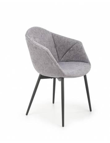 Scaun dining K420 gri/negru, cu tapiterie din textil si picioare din metal, stil modern, Halmar
