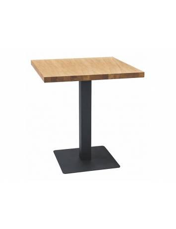 Masa living PURO LAMINAT,  80X80, din PAL si Metal, stejar/negru, stil modern, SIGNAL