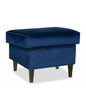 Taburet RON K BLUVEL 86, albastru granit/wenge, cu tapiterie din catifea, stil modern, SIGNAL