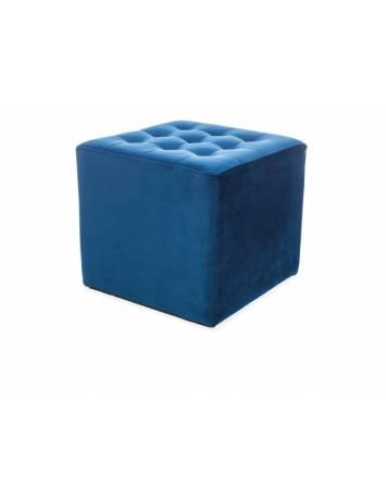 Taburet LORI albastru granit BLUVEL 86, cu tapiterie din catifea, stil modern, SIGNAL