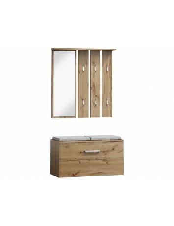 Mobilier hol P-001, stejar wotan, din tabla laminata si oglinda, stil modern, SIGNAL