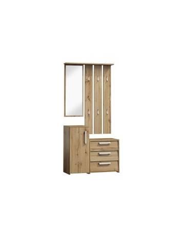 Mobilier hol P-002, stejar wotan, din lemn laminat si oglinda, stil modern, SIGNAL