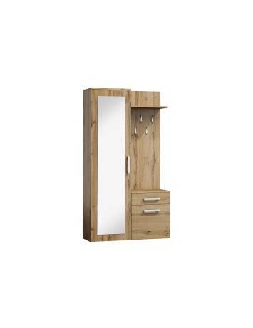 Mobilier hol P-004, stejar wotan, din lemn laminat si oglinda, stil modern, SIGNAL