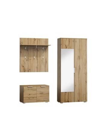 Mobilier hol P-005, stejar wotan, din lemn laminat si oglinda, stil modern, SIGNAL