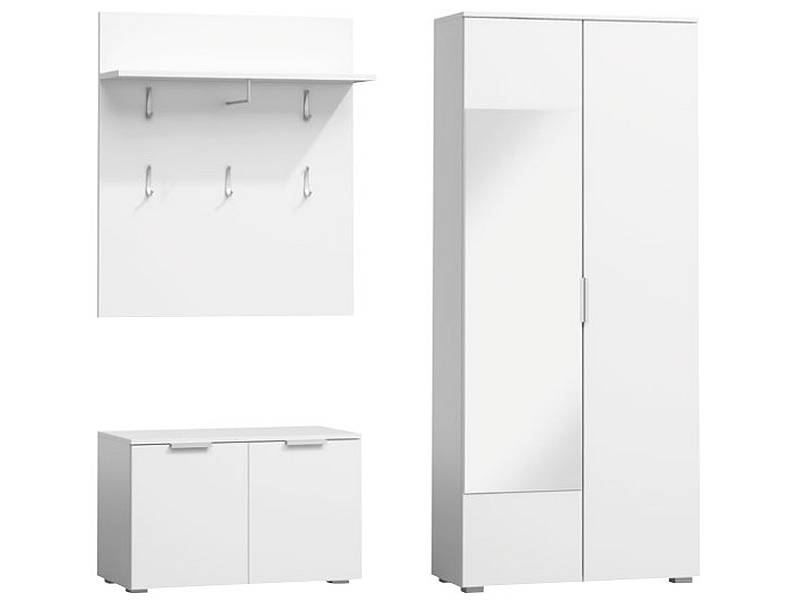 Mobilier hol P-005, alb mat, din lemn laminat si oglinda, stil modern, SIGNAL