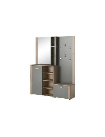 Mobilier hol P-007, stejar artizanal/antracit, din lemn laminat si oglinda, stil modern, SIGNAL