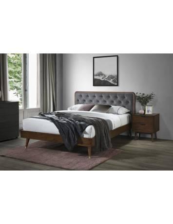 Pat dublu CASSIDY, gri/nuc, cu tapiterie din catifea si cadru din furnir si lemn masiv, stil  modern, HALMAR