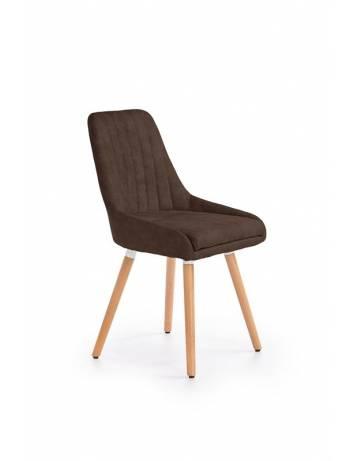 Scaun dining K284 maro/natural, cu tapiterie din piele ecologica, stil modern, HALMAR