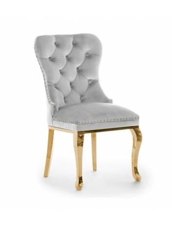 Scaun dining MADAME GLAMOUR gri/auriu, cu tapiterie din catifea, ATR