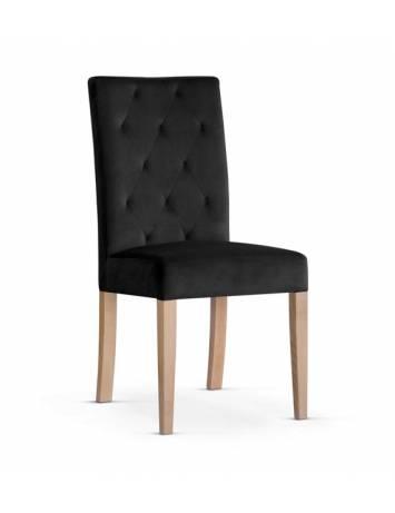 Scaun dining cu structura de lemn si tapiterie din catifea, ORLANDO, negru/fag, ATR