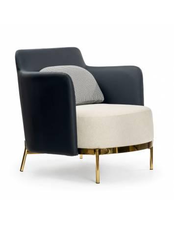 Fotoliu confortabil TEDDY, crem/albastru si auriu, stil modern, ATR