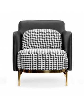 Fotoliu confortabil TEDDY, alb/negru si auriu, stil modern, ATR