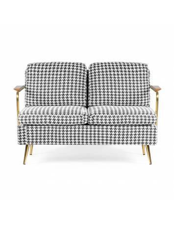 Sofa CARDI 2, negru/alb/auriu, cu tapiterie din textil, ATR