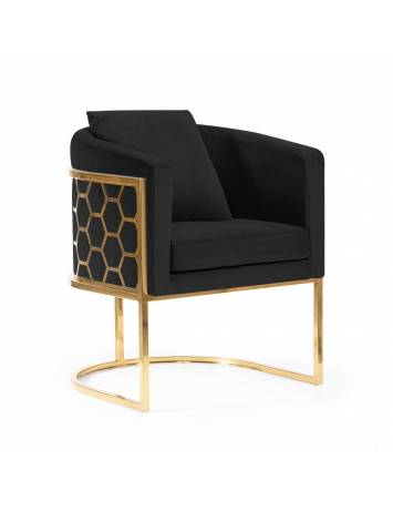 Fotoliu confortabil PALEO negru/auriu, cu tapiterie din catifea, ATR