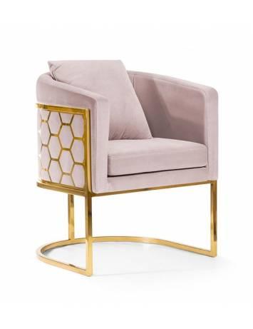 Fotoliu confortabil PALEO roz/auriu, cu tapiterie din catifea, ATR