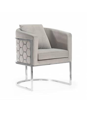 Fotoliu confortabil PALEO gri/argintiu, cu tapiterie din catifea, ATR