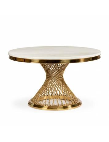 Masa living ROMANCE, auriu/alb cu efect de marmura, stil modern ATR