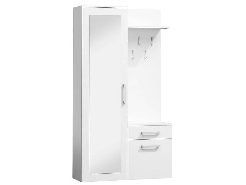 Mobilier hol P-004, alb mat, din lemn laminat si oglinda, stil modern, SIGNAL